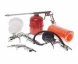 Набор пневмоинструмента ER-76301 (краскораспылитель с верх. пласт. бачком; пистолет для мойки двигателя с нижним метал. бачком, пистолет) ЭВРИКА /1/10